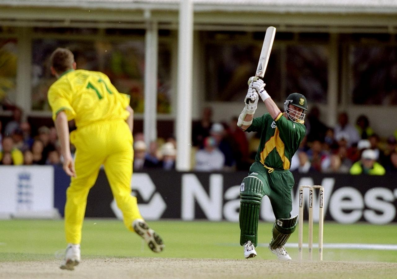 17 Jun 1999:  Lance Klusener of South Africa on his way to 31 not out off just 16 balls against Australia in the World Cup semi-final at Edgbaston in Birmingham, England. The match finished a tie as Australia went through after finishing higher in the Super Six table. \ Mandatory Credit: Craig Prentis /Allsport