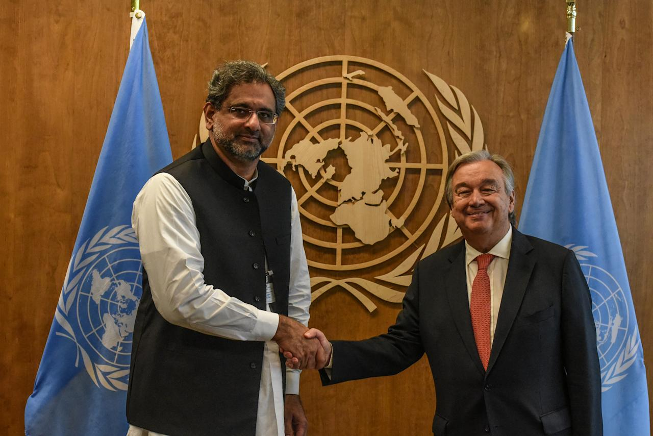 United Nations Secretary-General Antonio Guterres shakes hands with Pakistan's Prime Minister Shahid Khaqan Abbasi at the 72nd United Nations General Assembly at the U.N. headquarters in New York City, U.S. September 21, 2017. REUTERS/Stephanie Keith