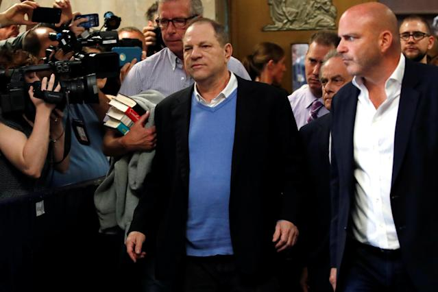 <p>Film producer Harvey Weinstein leaves criminal court following his arraignment in Manhattan in New York, May 25, 2018. (Photo: Mike Segar/Reuters) </p>