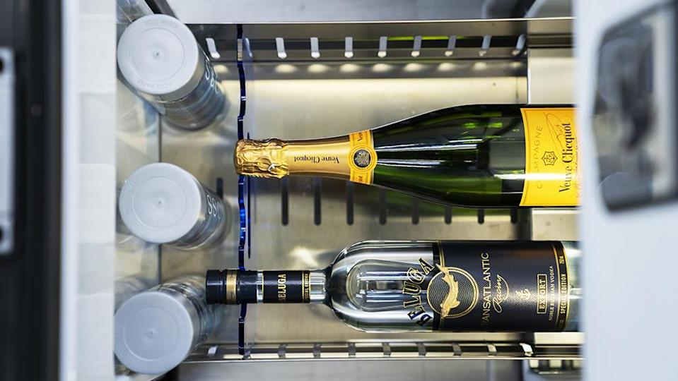 The fridge can hold your Veuve and other essentials. - Credit: Inkas