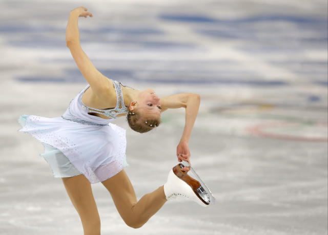 Polina Edmunds of the United States competes in the women's free skate figure skating finals at the Iceberg Skating Palace during the 2014 Winter Olympics, Thursday, Feb. 20, 2014, in Sochi, Russia. (AP Photo/Vadim Ghirda)