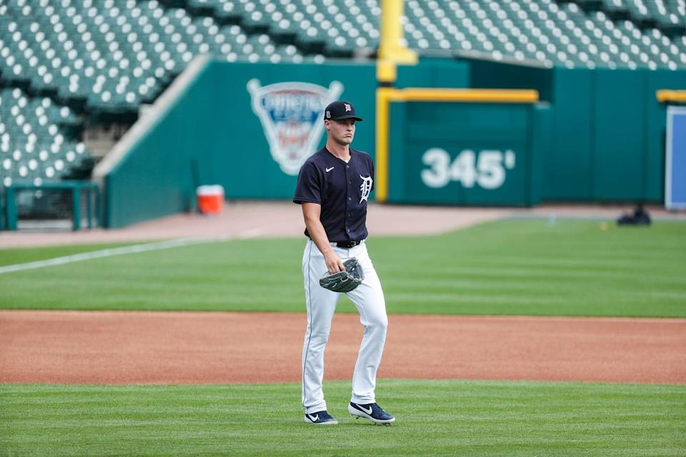 Detroit Tigers pitcher Matt Manning walks to the mound for practice during summer camp at Comerica Park in Detroit, Tuesday, July 7, 2020.