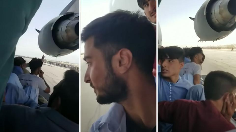 People were seen clinging to a plane about to take off in Afghanistan. Source: YouTube/Persian Media