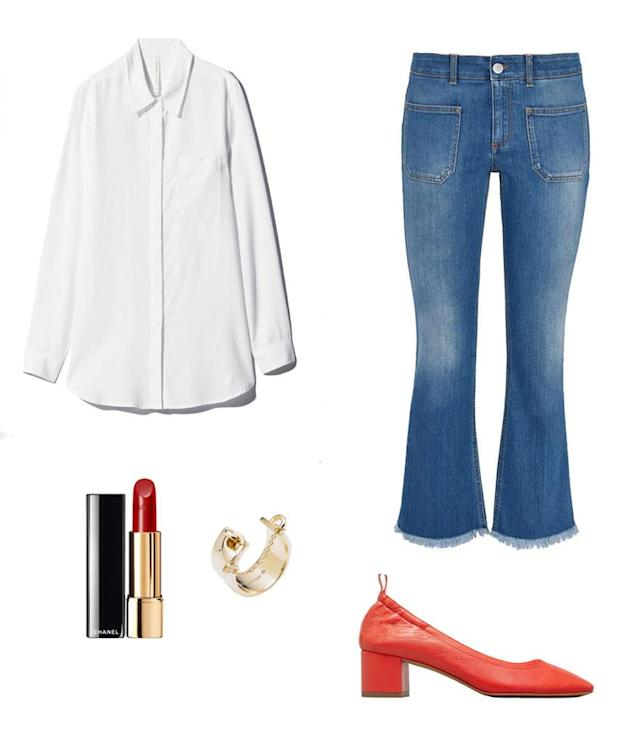 <p>Take a page from Isabelle's book and go retro for the weekend. Pair your favorite flared jeans with a loose white button up. To jazz up the look, we suggest wearing a bold shoe, like these daytime heels from Everlane, and also wear a bold red lip. </p>