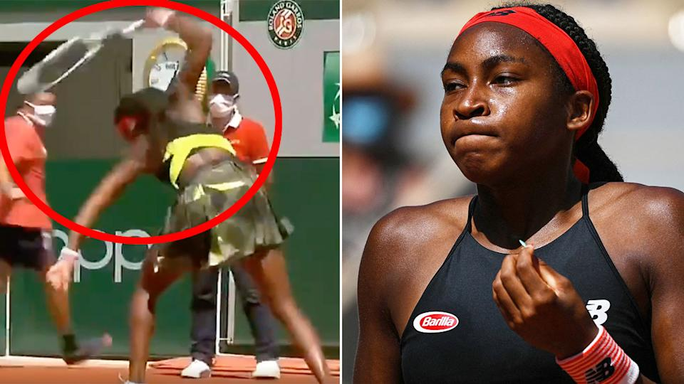 Pictured here, Coco Gauff smashes her racquet in anger at the French Open.
