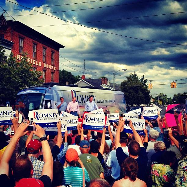 Speaker John Boehner, Ohio Sen. Rob Portman, and Mitt Romney in Troy, OH. (Holly Bailey/Yahoo News)