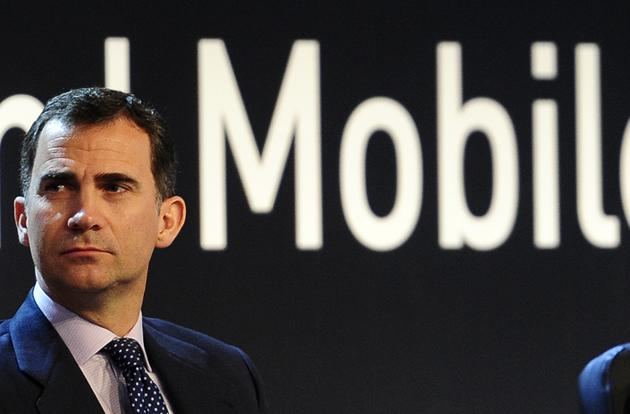 Spain's Crown Prince Felipe attends the inauguration of the Mobile World Congress.
