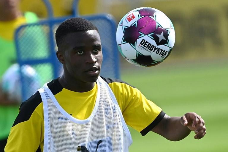 (FILES) Borussia Dortmund striker Youssoufa Moukoko, who turned 16 on Friday, could become the youngest player to make his Budnesliga debut this weekend