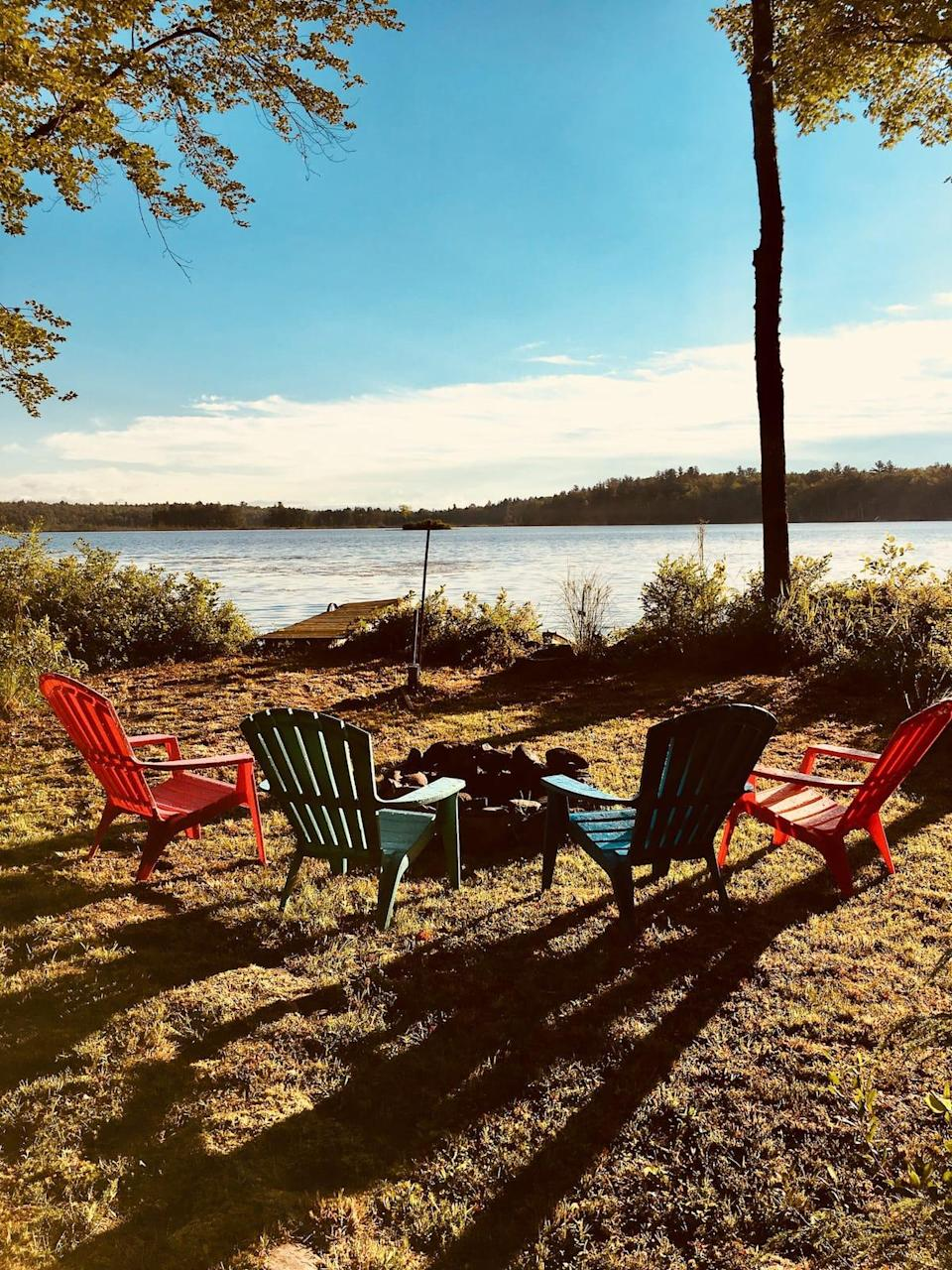 """<h2>Fahi Pond, Maine</h2><br><strong>Location: </strong>Embden, Maine<br><strong>Sleeps: </strong>6<br><strong>Price Per Night: </strong><a href=""""http://airbnb.pvxt.net/155a6g"""" rel=""""nofollow noopener"""" target=""""_blank"""" data-ylk=""""slk:$120"""" class=""""link rapid-noclick-resp"""">$120</a><br><br>""""A four-season homemade mostly from reclaimed materials offers a rustic feel, yet provides modern conveniences. On our private wooded lot with 367 feet of water frontage on serene Fahi Pond, you can come to get away from it all, sit back and relax, reduce stress & find your zen. Or, if it's outdoor adventure you prefer, start with touring the pond on our kayaks, while listening for the loons and watching for a deer out for a stroll.""""<br><br><h3>Book <a href=""""http://airbnb.pvxt.net/155a6g"""" rel=""""nofollow noopener"""" target=""""_blank"""" data-ylk=""""slk:Fahi Pond Retreat"""" class=""""link rapid-noclick-resp"""">Fahi Pond Retreat</a></h3>"""