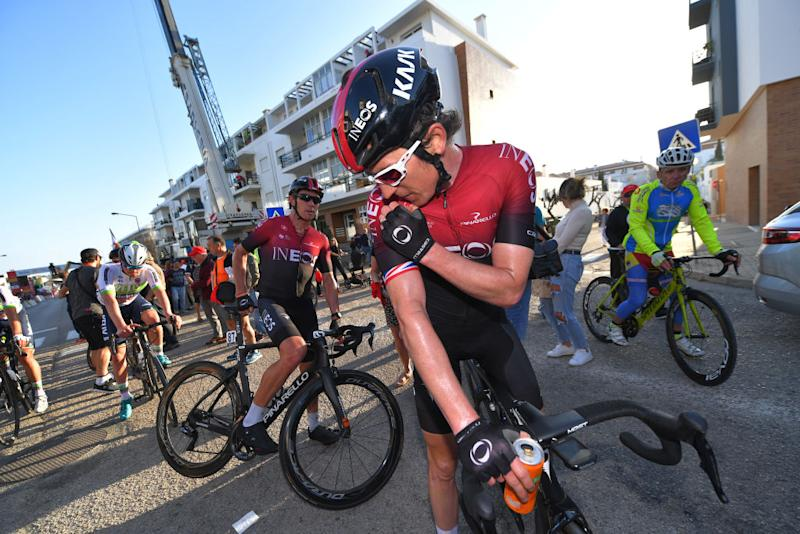 TAVIRA PORTUGAL FEBRUARY 21 Arrival Geraint Thomas of The United Kingdom and Team INEOS Cameron Wurf of Australia and Team INEOS during the 46th Volta ao Algarve 2020 Stage 3 a 2019Km stage from Faro to Tavira VAlgarve2020 on February 21 2020 in Tavira Portugal Photo by Tim de WaeleGetty Images