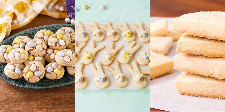 """<p>We're big believers in going all out at Easter. And that means making Easter cookies, as well as <a href=""""https://www.delish.com/uk/cooking/recipes/g31954424/easter-cake-recipes/"""" rel=""""nofollow noopener"""" target=""""_blank"""" data-ylk=""""slk:Easter cakes"""" class=""""link rapid-noclick-resp"""">Easter cakes</a> (and <a href=""""https://www.delish.com/uk/cooking/recipes/g31988998/easter-cupcakes/"""" rel=""""nofollow noopener"""" target=""""_blank"""" data-ylk=""""slk:cupcakes"""" class=""""link rapid-noclick-resp"""">cupcakes</a>). We're talking <a href=""""https://www.delish.com/uk/cooking/recipes/a35402850/bunny-hug-cookies-recipe/"""" rel=""""nofollow noopener"""" target=""""_blank"""" data-ylk=""""slk:Bunny Hug Cookies"""" class=""""link rapid-noclick-resp"""">Bunny Hug Cookies</a>, <a href=""""https://edit-delish.hearstapps.com/uk/content/edit/8fc9842c-81c2-403c-8294-e3f70318a3c2#"""" rel=""""nofollow noopener"""" target=""""_blank"""" data-ylk=""""slk:Shortbread Cookies"""" class=""""link rapid-noclick-resp"""">Shortbread Cookies</a>, <a href=""""http://www.delish.com/uk/cooking/recipes/a34491005/cadbury-blossom-cookies-recipe/"""" rel=""""nofollow noopener"""" target=""""_blank"""" data-ylk=""""slk:Cadbury Mini Egg Cookies"""" class=""""link rapid-noclick-resp"""">Cadbury Mini Egg Cookies</a> and more! Because who wouldn't want to over indulge? But, if you're stuck for inspiration, we've got plenty of easy-to-make, tasty cookie recipes for you to refer to. Check 'em out now. </p>"""