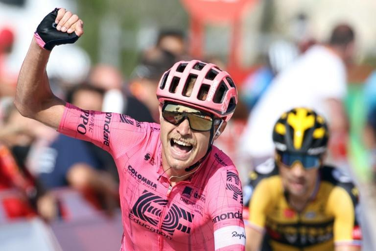 Danish rider Magnus Cort Nielsen celebrates as he wins the 6th stage of La Vuelta
