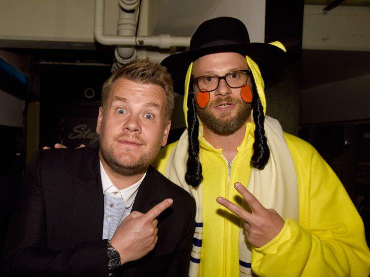 James Corden, left, with Seth Rogen, who poked fun at his Jewish heritage with his PikaJew costume. (Photo: Jeff Vespa/Getty Images)