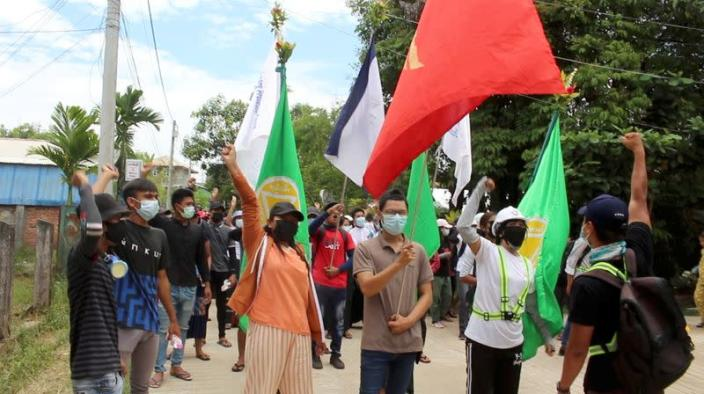 Protest against the military coup, in Dawei