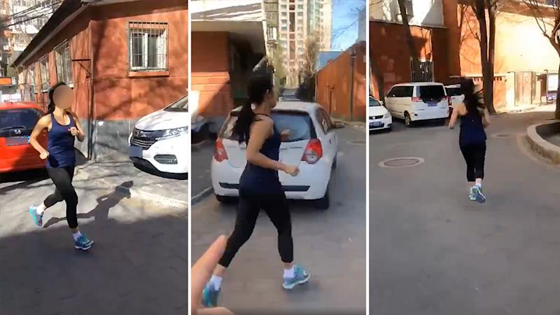 An Australian woman was filmed running in Beijing when she was meant to be in quarantine, causing outrage on Chinese social media. Source: Weibo