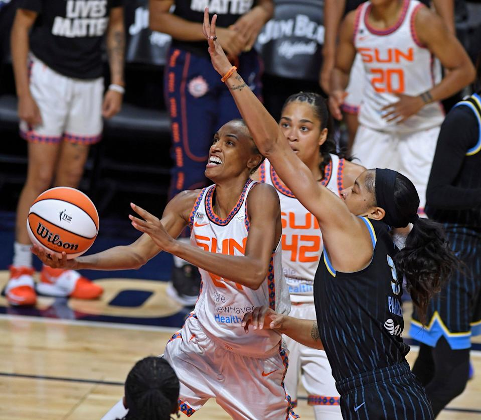 Connecticut's DeWanna Bonner, left, and Chicago's Candace Parker lead the WNBA All-Stars against Team USA.
