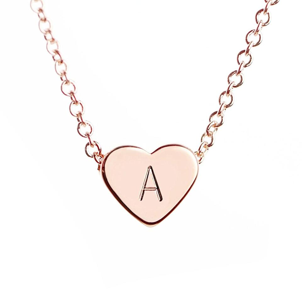 <p>Personalize this <span>MignonandMignon Rose Gold Initial Heart Necklace</span> ($17). </p>