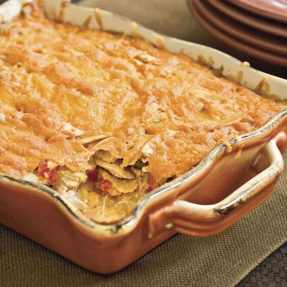 """<p>Recipe variations on this Texas-favorite <a href=""""https://www.myrecipes.com/t/casseroles/chicken/"""">chicken casserole</a> abound simply because it's delicious.</p> <p><a href=""""https://www.myrecipes.com/recipe/king-ranch-chicken-casserole-0"""">King Ranch Chicken Casserole Recipe</a></p>"""