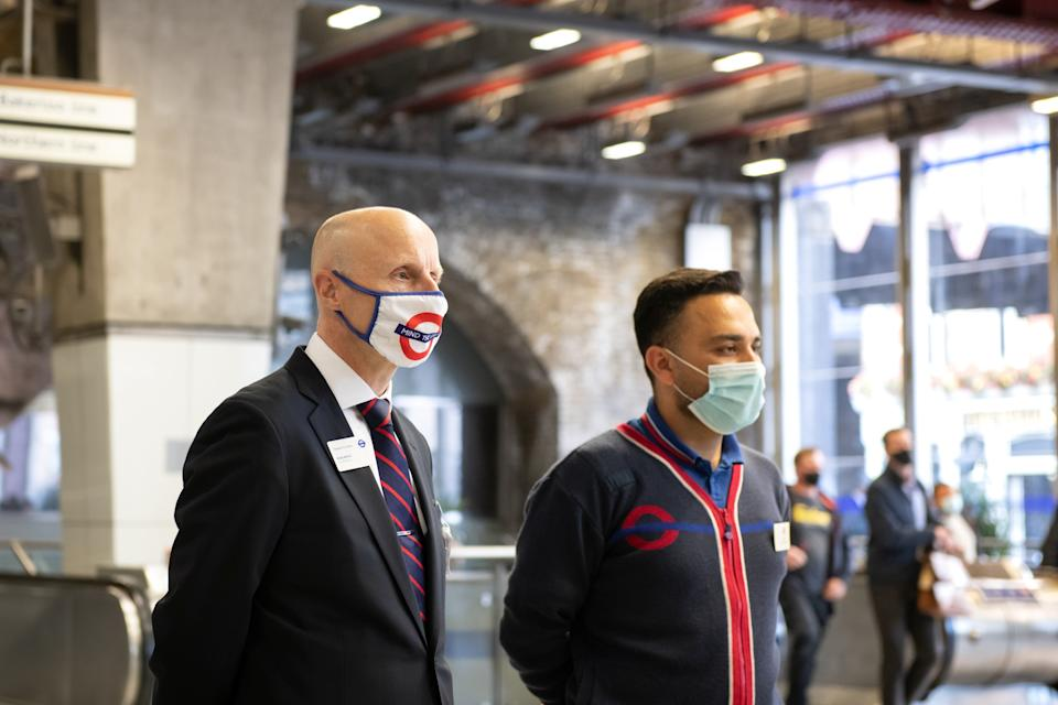 <p>Man in the mask: Andy Byford on covid patrol at Waterloo station</p>TfL