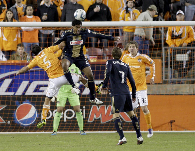 HOUSTON, TX - NOVEMBER 03: Sheanon Williams #25 of the Philadelphia Union heads the ball against Danny Cruz #5 of the Houston Dynamo in the second leg of the playoffs on November 3, 2011 at Robertson Stadium in Houston, Texas. The Dynamo won 1 to 0 and will play the Sporting K.C. Sunday, November 6, 2011. (Photo by Thomas B. Shea/Getty Images)