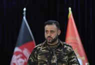 Gen. Ajmal Omar Shinwari, spokesperson for the Afghan armed forces speaks during a press conference in Kabul, Afghanistan, Sunday, Aug. 1, 2021. Shinwari said Sunday in a press conference that three provinces located in south and western parts of Afghanistan are under critical security situation. (AP Photo/Rahmat Gul)