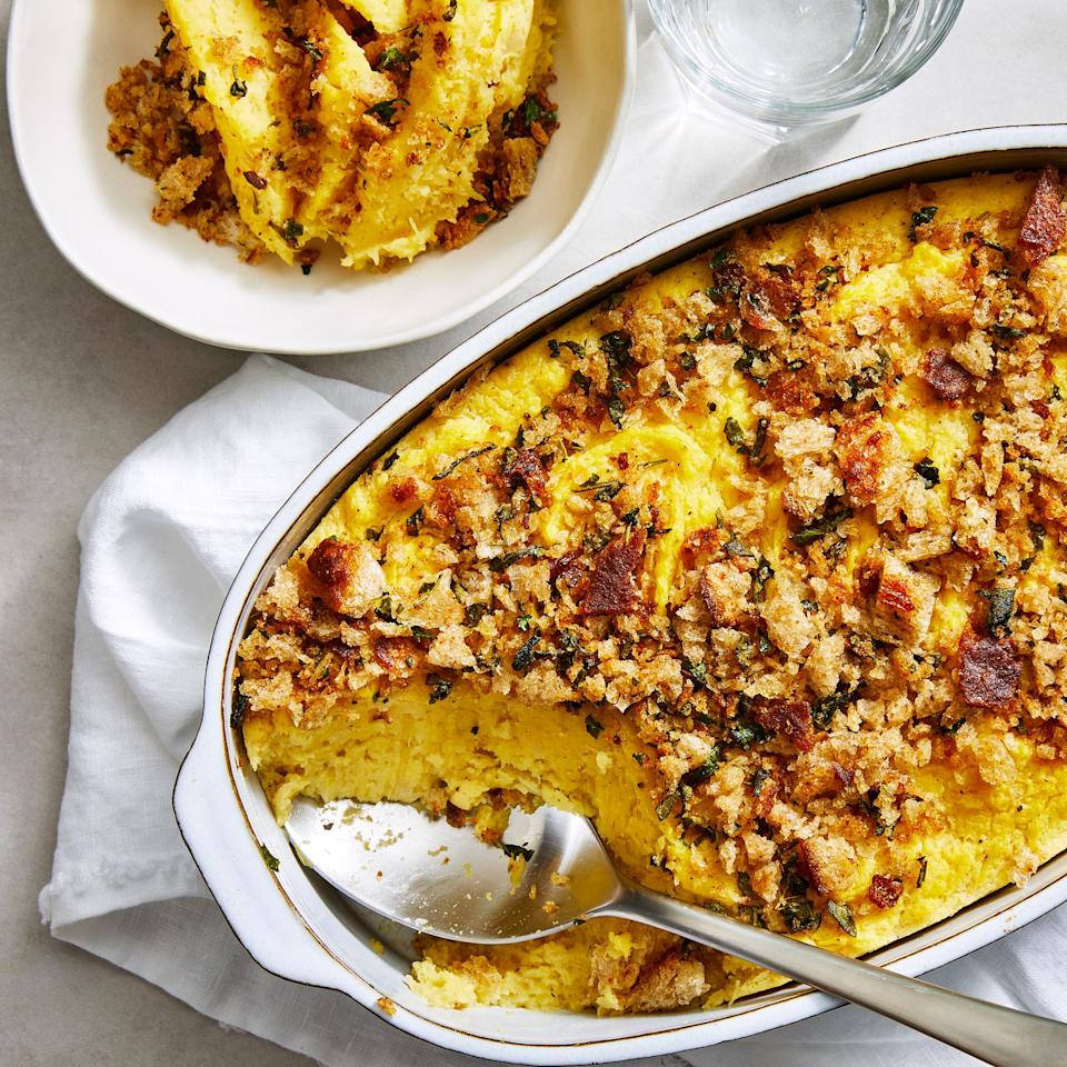 <p>This acorn squash casserole is smooth and creamy. The Parmesan cheese gives it the perfect amount of savoriness, while the breadcrumbs add an herby crunch. This easy casserole would be great with any fall meal, and is sure to become a new Thanksgiving favorite.</p>