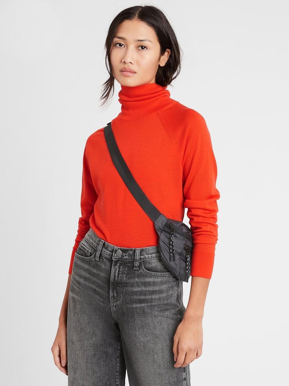 <p>Add a beautiful poppy like pop of color to your winter wardrobe with this <span>Banana Republic Merino Turtleneck Sweater in Responsible Wool in Autumn Orange</span> ($23, originally $80). </p>