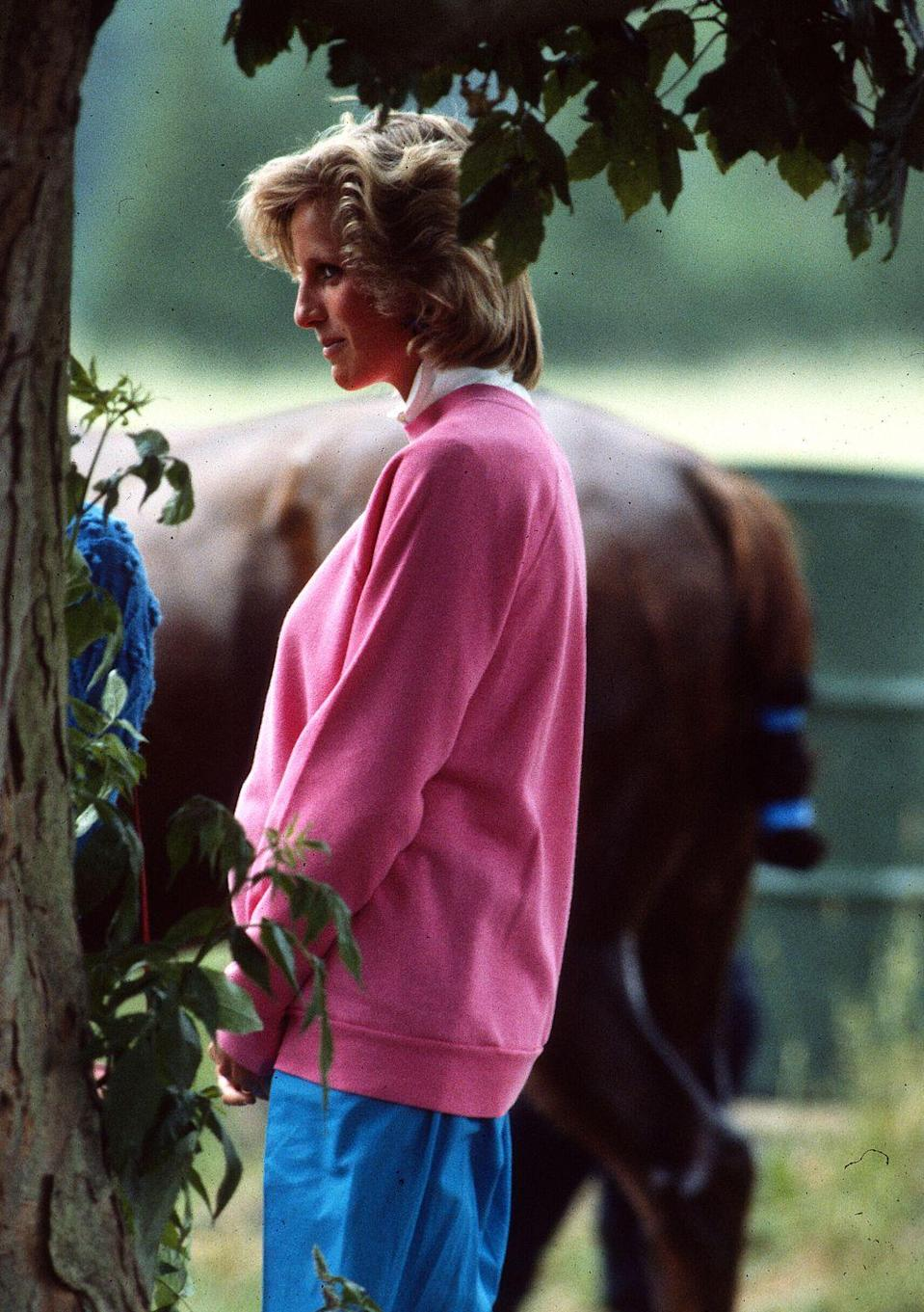 <p>For another day at the polo fields, Diana went with a pink sweatshirt worn over a collared white shirt, paired with blue pants—an outfit that, though put together decades ago in June 1984, wouldn't look out of place today.<br></p>
