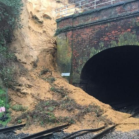 Landslip between Guildford and Godalming - Credit: National Rail Wessex