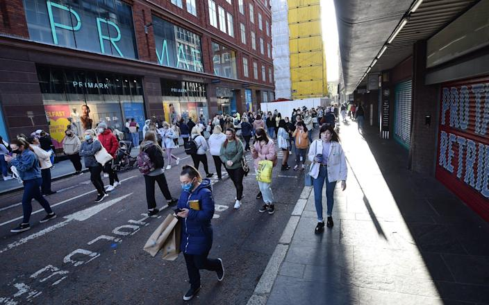 Thousands of shoppers wait for Primark to open for the first time since the latest lockdown on April 30, 2021 in Belfast, Northern Ireland - Charles McQuillan/Getty Images