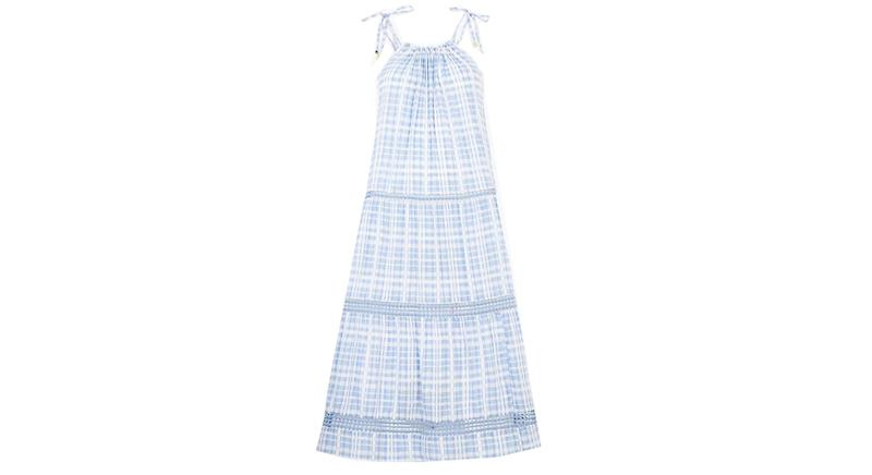 Cotton Rich Checked Midi Beach Dress