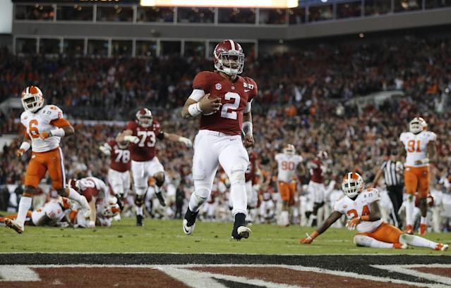 Could Alabama and Clemson meet in the College Football Playoff for a third-straight year? (AP Photo/John Bazemore)