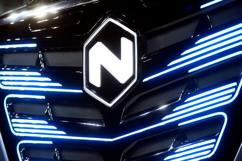 FILE PHOTO: U.S. Nikola's logo is pictured at an event held to present CNH's new full-electric and Hydrogen fuel-cell battery trucks in partnership with U.S. Nikola event in Turin