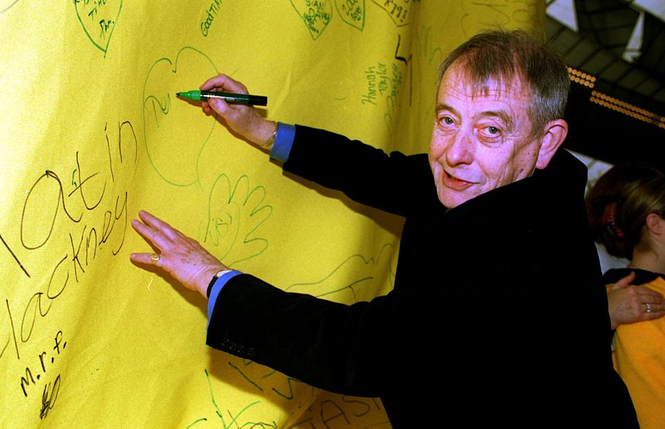 Actor Derek Fowlds, who plays Sergeant Blaketon in the TV drama 'Heartbeat', at the Millennium Dome, south London, where it was revealed that the millennium children's appeal 'Children's Promise' had so far raised  18.5 million.   (Photo by Michael Crabtree - PA Images/PA Images via Getty Images)
