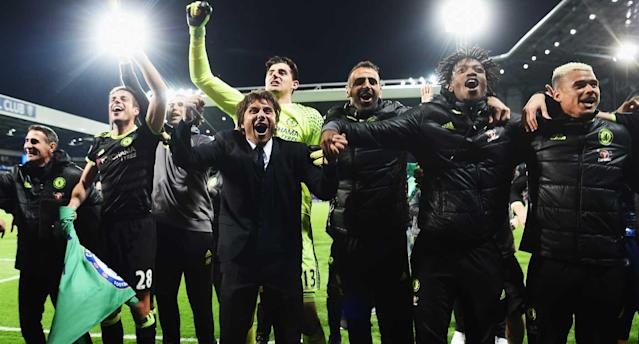 Antonio Conte leads the celebration at the Hawthorns. (Getty Images)