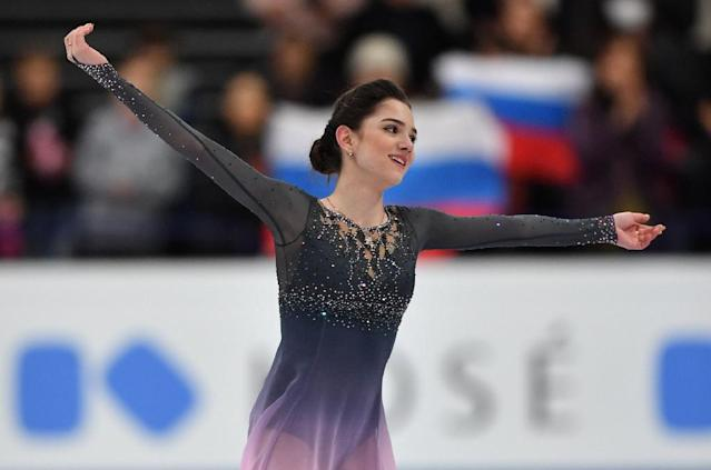 Evgenia Medvedeva of Russia reacts after performing her routine in the woman's Free Skating event at the ISU World Figure Skating Championships in Helsinki, Finland on March 31, 2017 (AFP Photo/Daniel MIHAILESCU)
