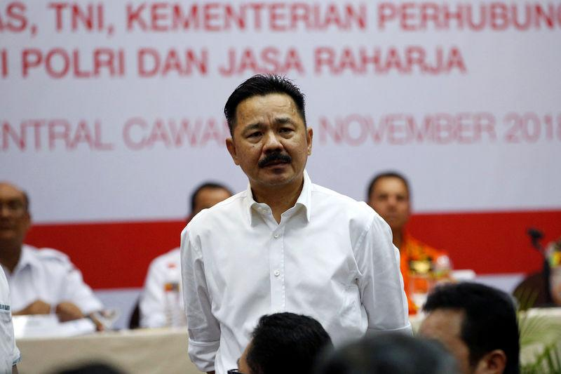 FILE PHOTO: Founder of Lion Air Group Rusdi Kirana stands as he hears questions from families of passengers on flight JT610 in Jakarta