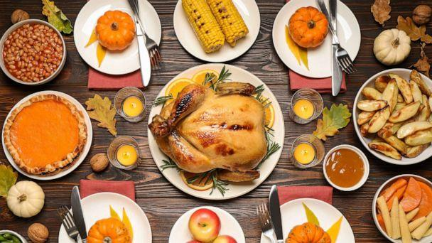 PHOTO: A traditional Thanksgiving day feast includes turkey and other side dishes in this stock photo. (New Africa via Shutterstock  )