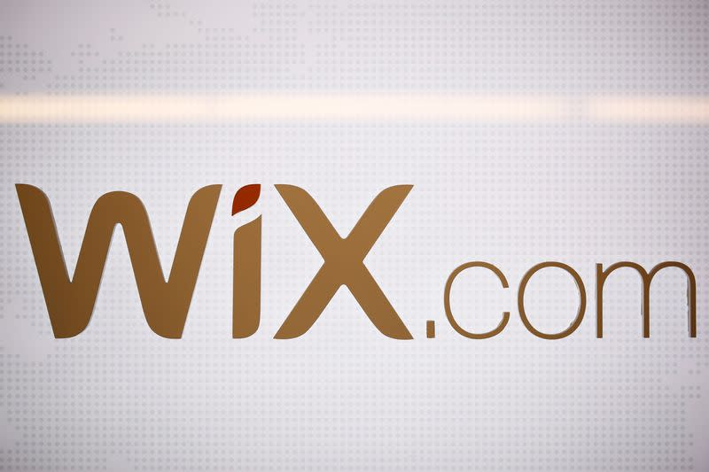 The logo of website-designer firm Wix.com is seen at a high-tech park in Beersheba