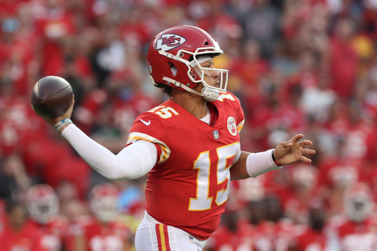 KANSAS CITY, MO - AUGUST 27: Kansas City Chiefs quarterback Patrick Mahomes (15) makes a sidearm pass in the first quarter of an NFL preseason game between the Minnesota Vikings and Kansas City Chiefs on Aug 27, 2021 at GEHA Field at Arrowhead Stadium in Kansas City, MO. (Photo by Scott Winters/Icon Sportswire via Getty Images)