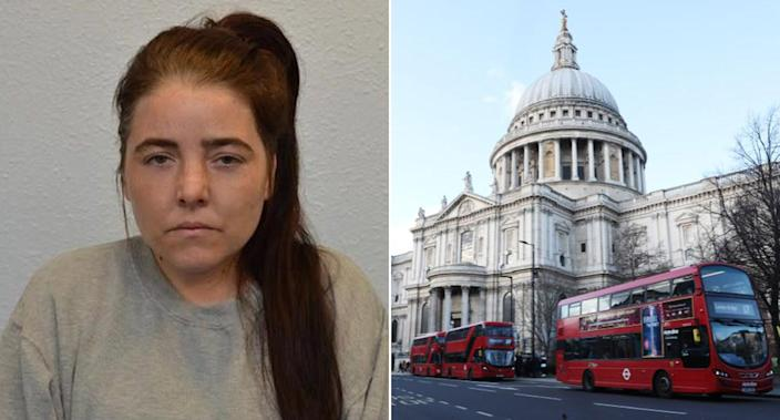 Safiyya Shaikh, left, had plotted to bomb St Paul's Cathedral, right, the Old Bailey was told. (Met Police/Isabel Infantes / EMPICS Entertainment)