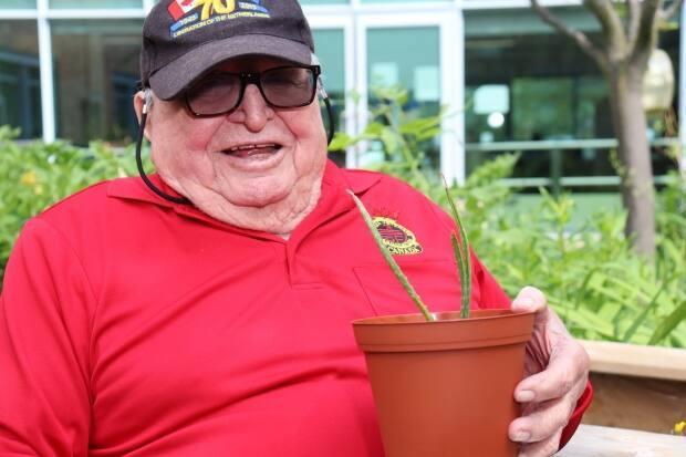 Alex Kowbel shows off an aloe vera plant that he's grown from a tiny offshoot as part of the Perley Rideau's horticulture therapy program.