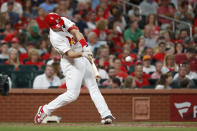 St. Louis Cardinals' Paul Goldschmidt hits a three-run home run during the sixth inning of a baseball game against the Milwaukee Brewers, Friday, Sept. 13, 2019, in St. Louis. The home run was the second of the game for Goldschmidt. (AP Photo/Jeff Roberson)