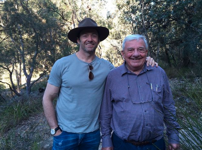 Hugh Jackman and his dad outside