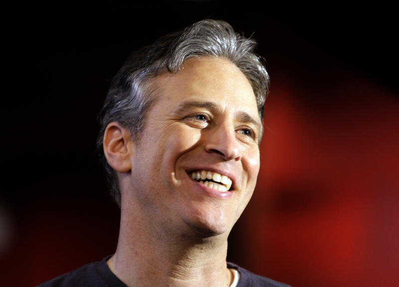 FILE - This Feb. 20, 2008 file photo shows Jon Stewart, host of the 80th Academy Awards, posing for a photo at the Kodak Theater in the Hollywood section of Los Angeles. The U.S. satirist appears Friday, June 21, 2013 on a talk show with Bassem Youssef, known as Egypt's Jon Stewart.(AP Photo/Chris Carlson, File)