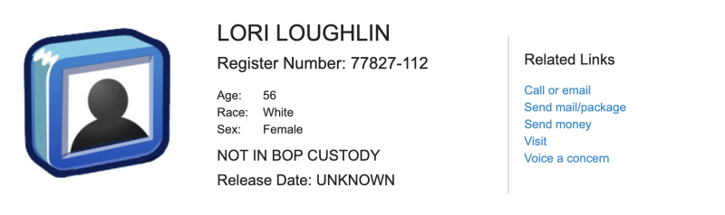 Lori Loughlin is registered in the Bureau of Prisons inmate lookup. For her two-month term, she will be known as inmate 77827-112. (Screenshot: BOP)