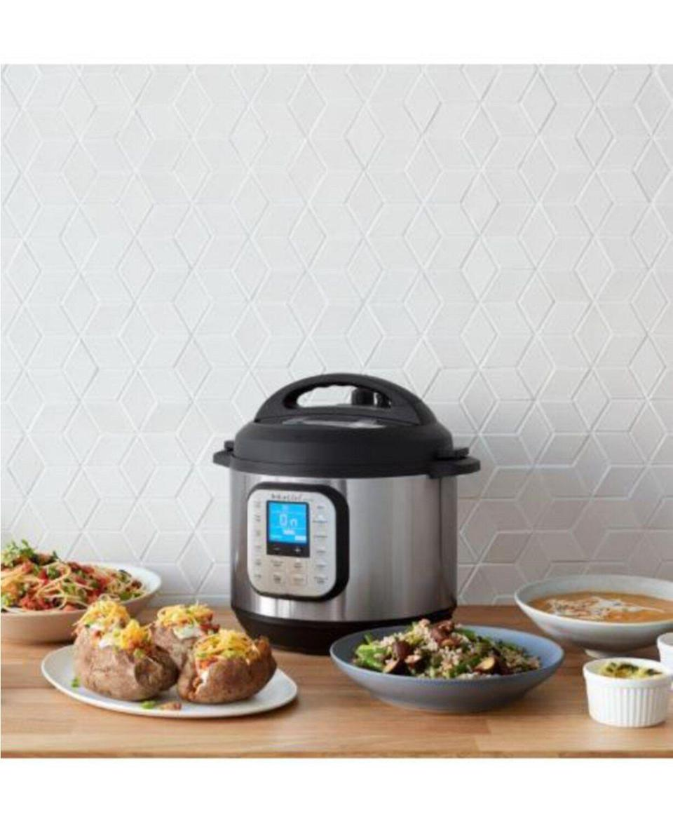 "The Instant Pot Duo Nova 8-quart is large enough to serve up eight people and includes 14 programmable one-touch options. <a href=""https://fave.co/3nR27FC"" target=""_blank"" rel=""noopener noreferrer"">Normally $150, get it on sale for $70 at Macy'</a>s right now."