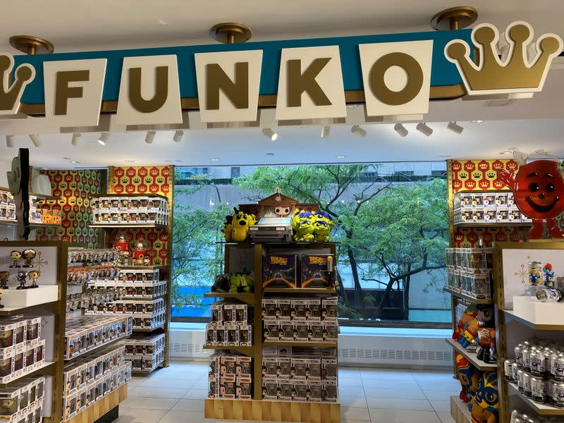 Barbie and Funko toy displays at a FAO Schwarz in New York