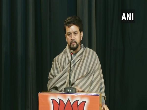 Union Minister Anurag Thakur addressing BJP's event in Kolkata on Monday. (Photo/ANI)
