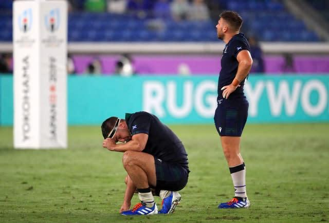 Scotland's Stuart McInally (left) struggled under the weight of responsibility during the World Cup (Adam Davy/PA)